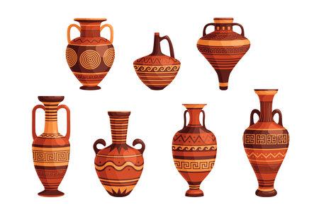 Ancient Greek vases and pots set. Decorative ornate Greece amphorae, jugs, urns, oil jars pottery objects cartoon design. Flat vector illustration. Traditional old Grecian ceramic earthenware concept Vecteurs
