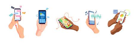 Hands holding, touching mobile phones displays, using apps online set. Chat, weather, navigation, music player, business telephone internet apps. Flat vector illustration. Digital concept Vektoros illusztráció