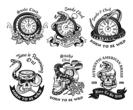 Monochrome labels with snakes and clocks vector illustration set. Retro emblems with metaphor of running out time. Wildlife and reptiles concept can be used for retro template