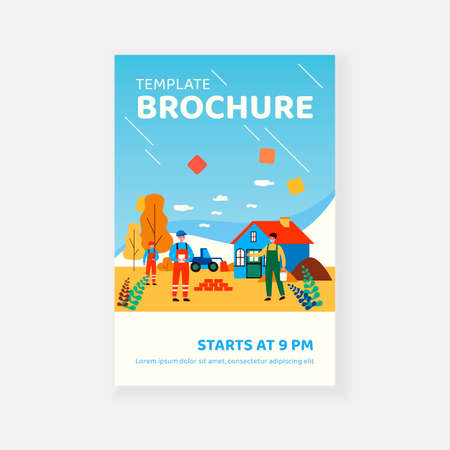 Construction workers repairing or building country house. People in overalls and hardhats outdoors flat vector illustration. Construction works concept for banner, website design or landing web page Ilustración de vector