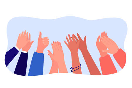 Cartoon diverse people hands applauding flat vector illustration. Multinational audience expressing appreciation and respect, symbolizing win or triumph. Celebration, success, tradition concept