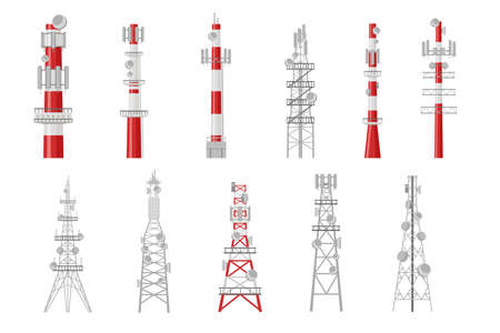 Set of cartoon radio towers vector illustration. Broadcast equipment representing telecommunication masts and wireless stations transmitting satellite signal. Communication, global technology concept