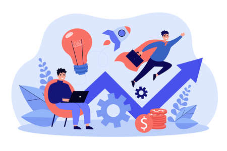 Successful businessman working with laptop and flying. The concept for startup launch, venture, motivation, innovation and inspiration. Financial success flat vector illustration Vecteurs