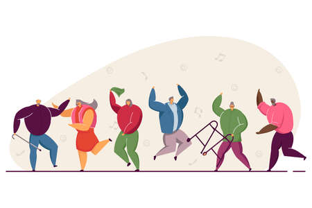 Group of happy old people jumping and dancing. Elders having fun to music, aged men and women at party flat vector illustration. Dance club concept for banner, website design or landing web page