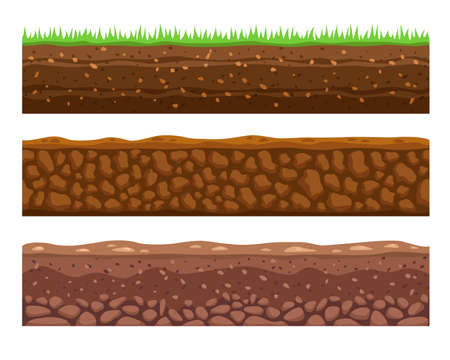 Seamless grounds or soils vector illustrations set. Cartoon collection of soil layers, earth or dirt with grass and stones, meadow on white background. Texture, geology, land surface ground concept
