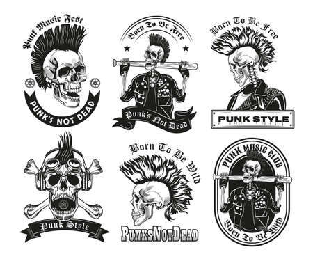 Set of vintage black and white punk skeleton sketches. Flat vector illustration. Graphic sketches of skeleton in punk style with mohawk and lettering. Subculture or death concept for tattoo template