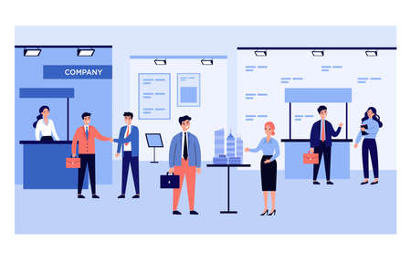 Businessmen talking to visitors at business exhibition. People at expo center showing products flat vector illustration. Marketing, presentation concept for banner, website design or landing web page Vector Illustration