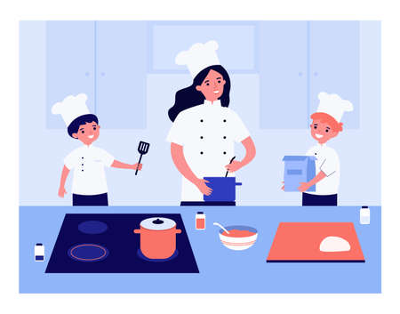 Family cooking together in chef uniform. Mother making food, children helping, kitchen counter vector illustration. Cooking, family, kitchen concept for banner, website design or landing web page Vector Illustratie