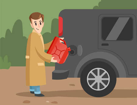 Cartoon male character pouring gasoline into car. Smiling man with red canister filling vehicle on petrol, getting ready for long trip flat vector illustration. Adventure, traveling, fuel concept
