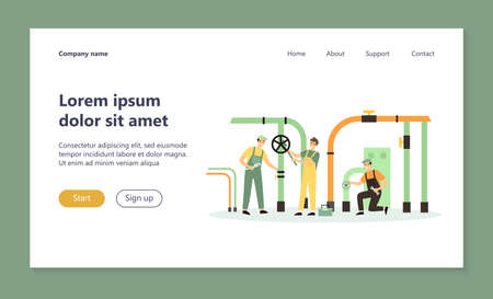 Happy plumbers fixing leakage in boiler room isolated flat vector illustration. Cartoon handymen repairing pipes with tool. Repair service and maintenance concept