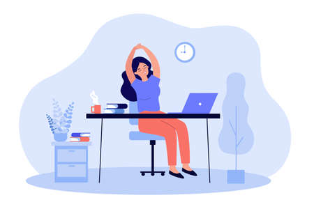 Happy young woman relaxing at workplace in office. Female employee sitting at desk with laptop and stretching during coffee break. Remote work, rest, job concept