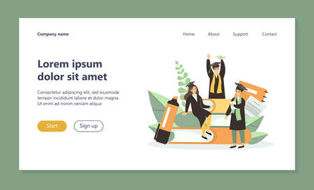 Students celebrating graduation. People in gowns and caps with tassels, diploma, books flat vector illustration. Achievement, knowledge, learning concept for banner, website design or landing web page