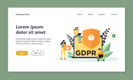 Shield with lock on computer display as symbol of general data protection regulation. People sure of their privacy while using gadgets. Vector illustration for GDPR, information protection concept Ilustração