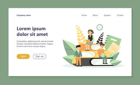 School students reading books. Schoolchildren studying at class flat vector illustration. Knowledge, learning, education concept for banner, website design or landing web page