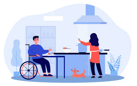 Wife cooking for her disabled husband. Cartoon vector illustration. Woman cooking dinner for smiling man sitting in wheelchair and happy dog in kitchen. Family, care, cooking, disability concept