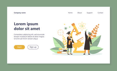 Young men celebrating graduation. Students in caps with tassels, diploma, microscope flat vector illustration. Science, knowledge, learning concept for banner, website design or landing web page Ilustração