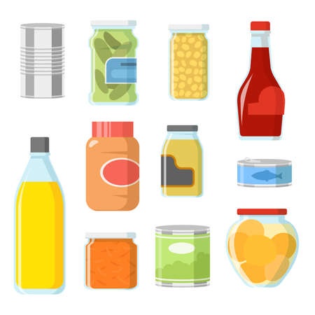 Different food in cans and jars vector illustrations set. Collection of cartoon tinned goods, fish, sauce, beans, soup for pantry or storage on white background. Food, supermarket, grocery concept