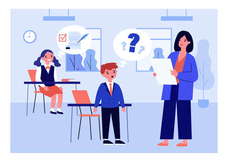 Cartoon teacher conducting class for excellent and bad pupils. Flat vector illustration. Teacher asking confused boy question and girl thinking about right answer. Education, school, grade concept Ilustração