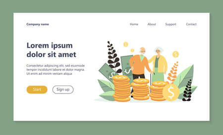 Senior couple with their savings. Old man and woman standing at heap of cash flat vector illustration. Money, retirement, finance concept for banner, website design or landing web page