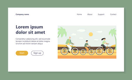Happy people in different ages cycling along sea. Health, grandfather, boy flat vector illustration. Summer activity and lifestyle concept for banner, website design or landing web page