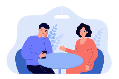 Husband with smartphone and ignoring his wife. Upset woman talking to her aloof partner who looking at phone. Cartoon vector illustration. Family problems, cool relationship, indifference concept