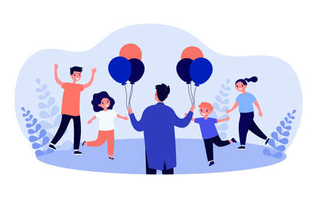 Cartoon man giving colorful balloons to children. Flat vector illustration. Happy smiling kids getting balloons from man. Present, party, happiness, joy, charity concept for banner design