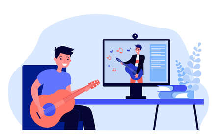 Cartoon young man learning playing guitar online. Flat vector illustration..Young man watching musical lessons on guitar play in Internet. Hobby, music, modern technology concept for banner design