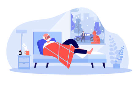Cartoon old man with fever lying in bed. Flat vector illustration. Male person drinking medicine, taking his temperature and staying in bed. Illness, health, recovering, treatment, pandemic concept