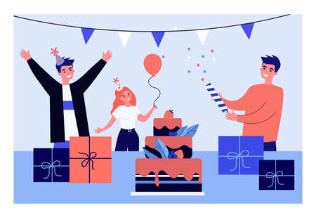 Young people having fun at birthday party. Flat vector illustration. Group of friends celebrating together with balloons, cake, lots of presents and gifts. Holiday, birthday, friendship, party concept