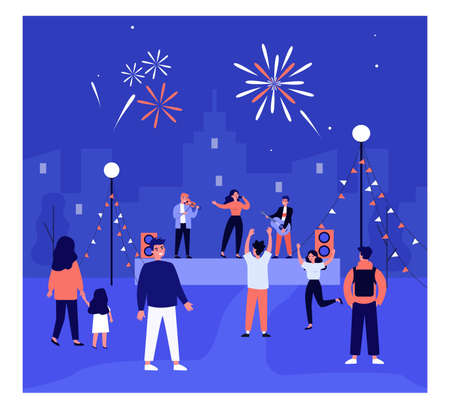 Open air music concert flat vector illustration. Cartoon people dancing to music and watching live concert in city. Singer and musicians playing on stage under fireworks. Concert, music, band, concept Ilustração