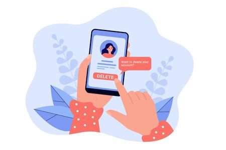 Girl deleting her social network account and information from website. Female hands holding smartphone, online problem vector illustration. Modern technology, social media, Internet addiction concept Ilustração