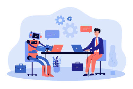 Robot and business man working at computers together vector illustration. Digital technology of future, automation, efficiency of artificial intelligence, workforce concept for banner, landing page