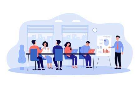 Speaker making boring presentation in office. Male manager character giving lecture with whiteboard to tiresome audience. Cartoon vector illustration. Meeting, training, team concept