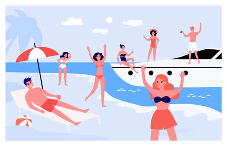 Group of young people enjoying party at seaside. Cartoon vector illustration. Men and women in swimsuits chilling on yacht and summer beach. Sea resort, vacation, summer, party concept