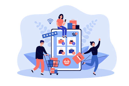 Tiny customers buying goods in online store using giant tablet. Vector illustration. Group of shopaholic buyers with carts and shopping bags. Sale, online purchase, retail shop, Internet concept