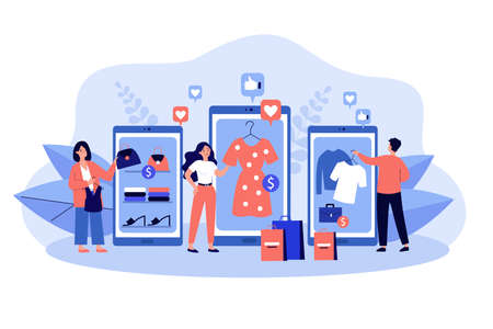 Customers buying goods in online shops. Young buyers using mobile devices with apps and smart phones. Flat vector illustration. Internet marketing, E-commerce, sale concept