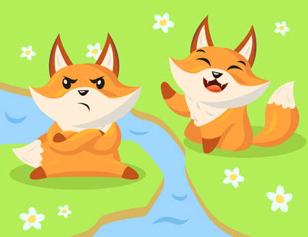 Angry and happy cartoon fox characters. Flat vector illustration. Two wild little funny foxes sitting next to stream in different emotional states or moods. Animal, wildlife, mood, emotion concept Ilustração