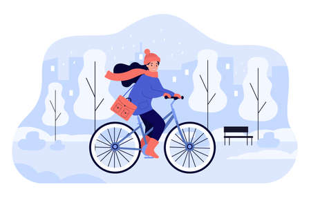 Happy girl riding bicycle in winter park. Young female cartoon cyclist on bike cycling along street of cold snowy city. Colorful flat vector illustration. Outside activity, sport, weather concept Ilustração