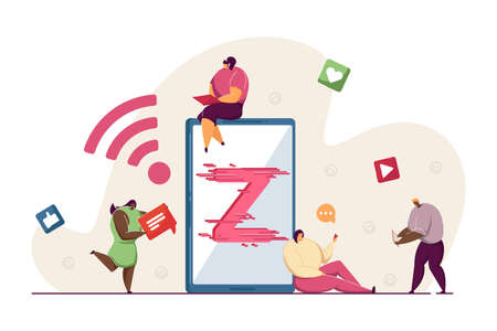 Generation Z using technology. Tiny young people with smartphone, laptop, tablet flat vector illustration. Modern demography, social media, youth concept for banner, website design or landing web page