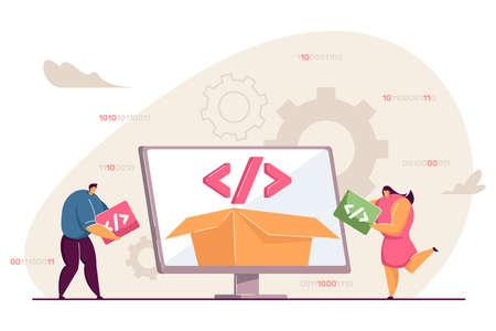 Tiny people using platform for programming. Open source, software script, development flat vector illustration. Programming, technology concept for banner, website design or landing web page