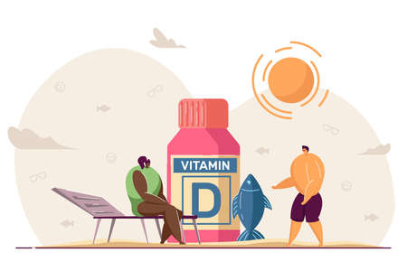 Tiny people with sources of vitamin D. Cartoon characters taking supplements for good health and skin flat vector illustration. Food, wellbeing concept for banner, website design or landing web page Ilustração