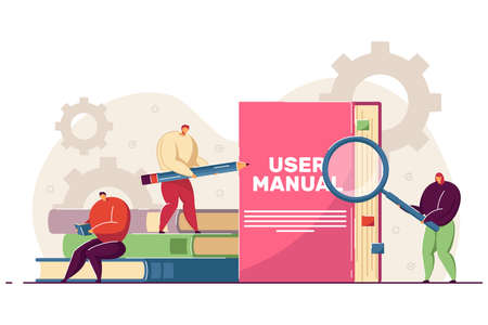 Tiny people reading user manual. Woman and man with magnifier and pencil using guidebook or instructions flat vector illustration. Guide, manual concept for banner, website design or landing web page