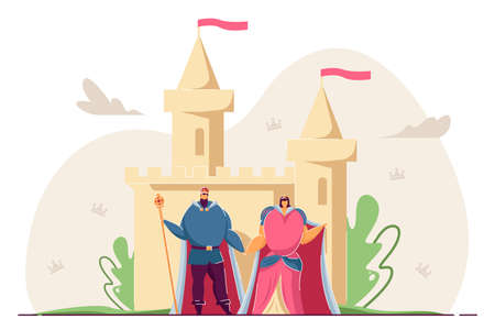 King and queen holding hands in front of castle. Cartoon royal family, ancient palace flat vector illustration. Monarchy, fairytale, Middle Ages concept for banner, website design or landing web page