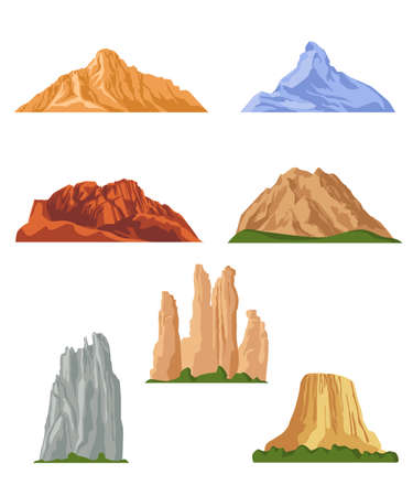 Various mountains flat pictures collection. Cartoon rocky hills, rocks and mountain tops isolated vector illustrations. Landscape design elements and terrain concept