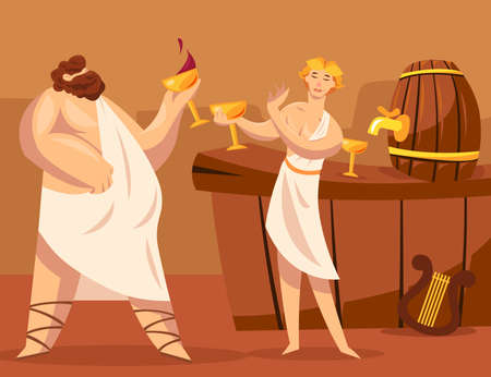 Ancient Greek gods or Greeks drinking wine together. Cartoon vector illustration. God of viticulture Dionysus granting wine to Greek character. Winemaking, ancient Greece, alcohol, culture concept