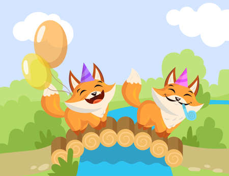 Two cartoon birthday foxes standing on bridge. Flat vector illustration. Happy little foxes with birthday hats, whistle blowers, colorful balloons enjoying holiday. Party, animal, birthday concept