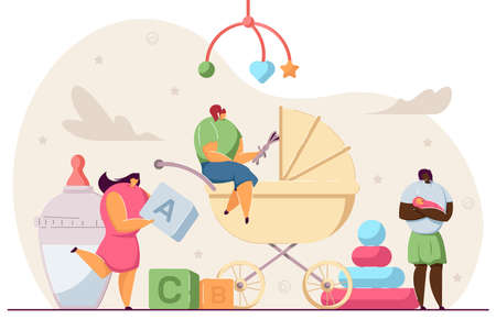 Tiny babysitters or mothers looking after babies. Cartoon female characters with toys, newborn kids flat vector illustration. Babysitting, family concept for banner, website design or landing web page