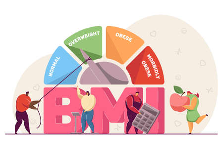 Body mass index medical chart. Tiny people on scales, with apple and calculator, diet and fitness control flat vector illustration. BMI, health concept for banner, website design or landing web page Ilustração