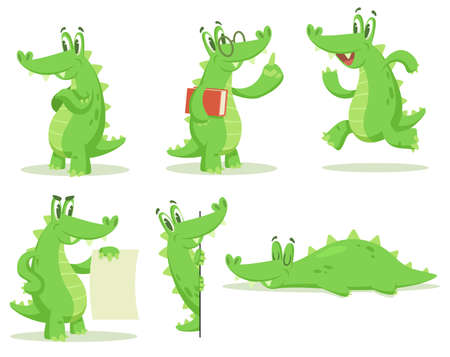 Cartoon crocodile character vector illustrations set. Collection of drawings of cute alligator standing, running, teaching, sleeping isolated on white background. Animals, mascot concept Ilustração