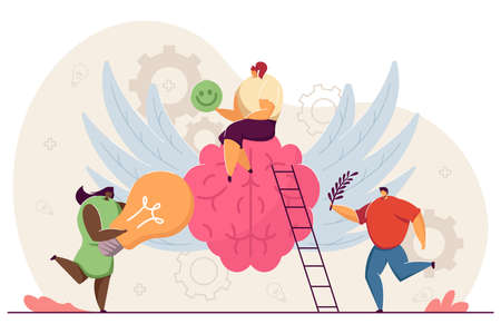 Tiny happy people with healthy mind. Cartoon character sitting on brain, positive vision flat vector illustration. Health improvement, philosophy concept for banner, website design or landing web page